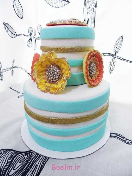 تزیین کیک عروسی با گل رز