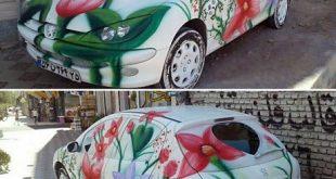 ماشین عروس رنگ آمیزی شده