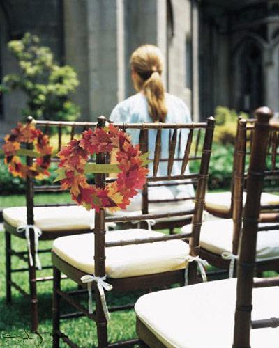 تزیین پاییزی صندلی های مراسم عروسی,دسته گل پاییزی برای عروس و داماد