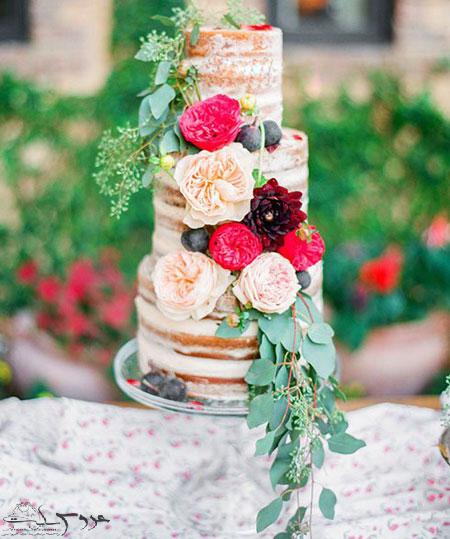 مدل تزیین کیک های عروسی با گل های طبیعی95