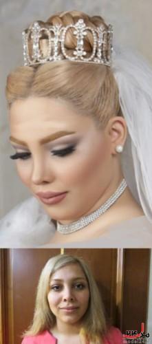 آرایش عروس ایرانی قبل وبعد از میکاپ